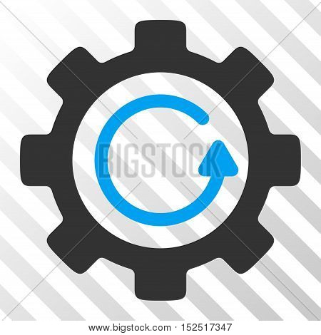 Blue And Gray Gear Rotation Direction toolbar icon. Vector pictogram style is a flat bicolor symbol on diagonal hatch transparent background.
