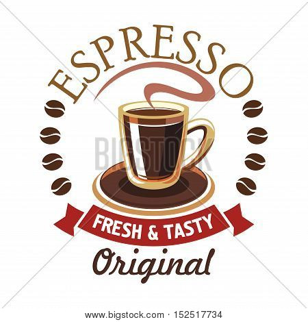 Coffee cup cartoon icon with saucer and swirl of aroma, framed by roasted coffee beans, header Espresso and red ribbon banner. Cafe, coffee shop signboard or menu card design