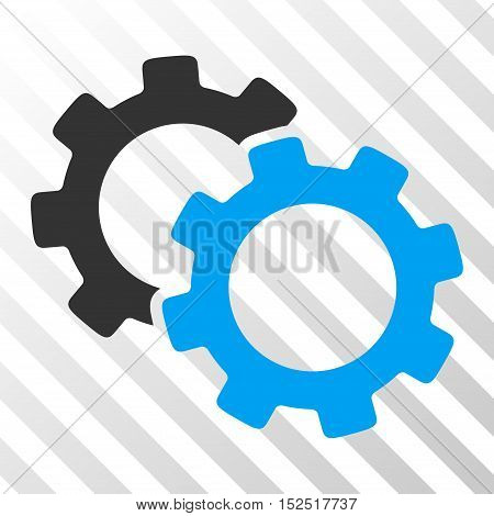 Blue And Gray Gears interface toolbar icon. Vector pictograph style is a flat bicolor symbol on diagonal hatch transparent background.