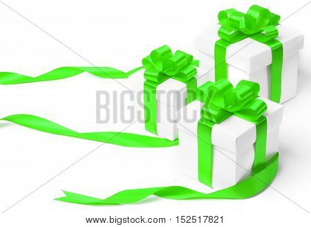 White gift box with green ribbon bow and christmas balls around, isolated on white background