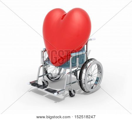 Big Red Heart On A Wheel Chair