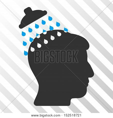 Blue And Gray Head Shower interface icon. Vector pictogram style is a flat bicolor symbol on diagonal hatch transparent background.