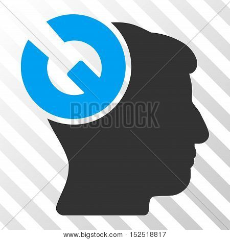 Blue And Gray Head Surgery Wrench toolbar pictogram. Vector pictograph style is a flat bicolor symbol on diagonal hatch transparent background.