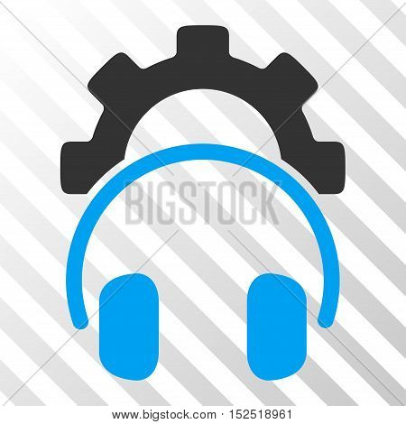 Blue And Gray Headphones Configuration Gear interface pictogram. Vector pictogram style is a flat bicolor symbol on diagonal hatch transparent background.