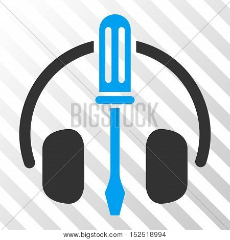 Blue And Gray Headphones Tuning Screwdriver toolbar pictogram. Vector pictogram style is a flat bicolor symbol on diagonal hatch transparent background.