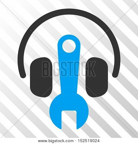 Blue And Gray Headphones Tuning Wrench toolbar icon. Vector pictogram style is a flat bicolor symbol on diagonal hatch transparent background.