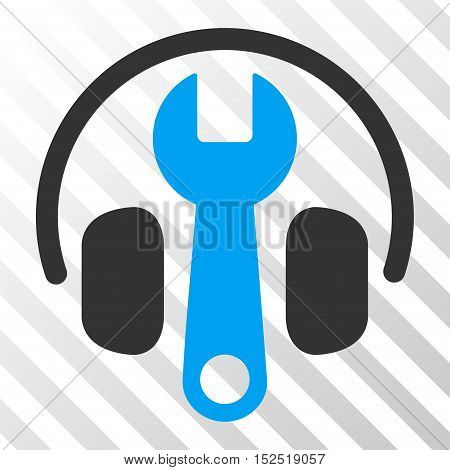 Blue And Gray Headphones Tuning Wrench toolbar pictogram. Vector pictograph style is a flat bicolor symbol on diagonal hatch transparent background.