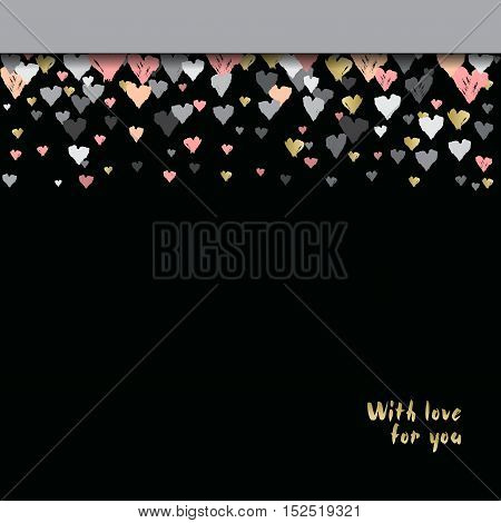 Dark horizontal top design with hearts confetti on black background. Romantic trendy heart frame. Valentine day design for love card valentine day greetings. Vector illustration stock vector.