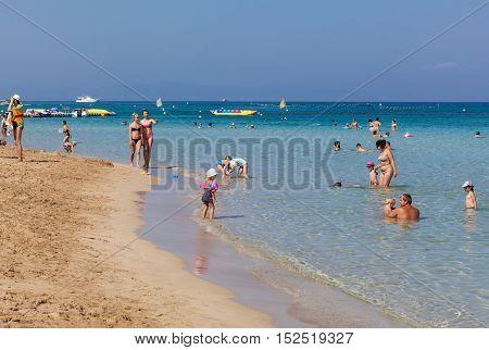 PROTARAS, CYPRUS - 12 OCTOBER 2016: Famous Fig Tree bay beach