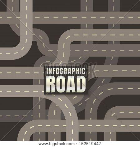 infographic road design vector on black background