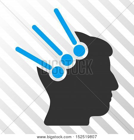 Blue And Gray Neural Interface Connectors interface pictogram. Vector pictogram style is a flat bicolor symbol on diagonal hatch transparent background.