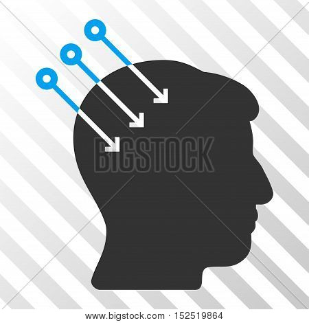 Blue And Gray Neural Interface Connectors toolbar pictogram. Vector pictogram style is a flat bicolor symbol on diagonal hatch transparent background.