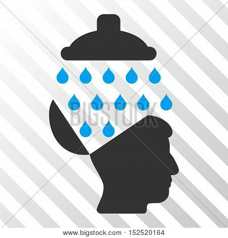 Blue And Gray Open Brain Shower interface toolbar icon. Vector pictogram style is a flat bicolor symbol on diagonal hatch transparent background.