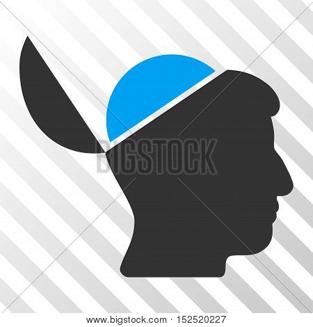 Blue And Gray Open Brain interface icon. Vector pictogram style is a flat bicolor symbol on diagonal hatch transparent background.
