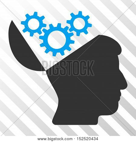 Blue And Gray Open Mind Gears toolbar icon. Vector pictogram style is a flat bicolor symbol on diagonal hatch transparent background.
