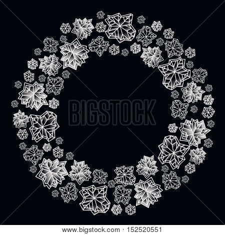 Round circle frame. Winter polygonal trendy style snowflakes on black white background. Winter holidays snowfall concept winter label. Fall snowflake vector illustration stock vector.