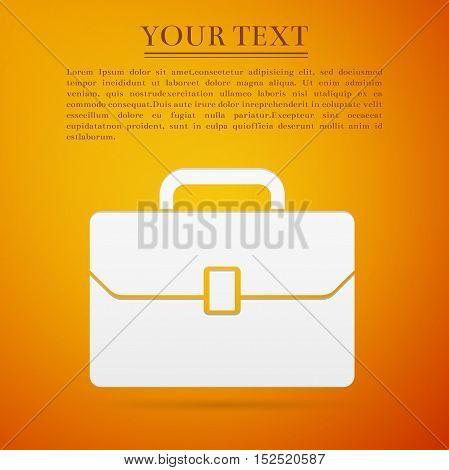 Business case flat icon on orange background. Adobe illustrator