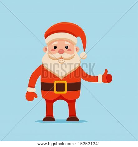 Cartoon Santa Claus for Your Christmas and New Year greeting Design or Animation. Vector isolated illustration of happy Santa Claus in colorful flat style