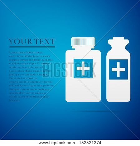 Medical bottles flat icon on blue background. Adobe illustrator