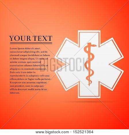 Medical symbol of the Emergency - Star of Life flat icon on orange background. Adobe illustrator