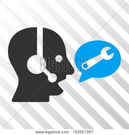 Blue And Gray Operator Service Message toolbar icon. Vector pictogram style is a flat bicolor symbol on diagonal hatch transparent background.