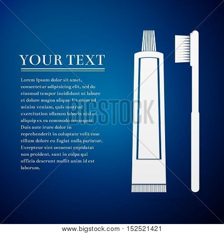 Toothbrush and toothpaste flat icon on blue background. Adobe illustrator