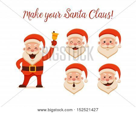Cartoon Santa Claus for Your Christmas and New Year greeting Design or Animation. Vector isolated illustration of happy Santa Claus ringing a hand bell and different emotions in colorful flat style