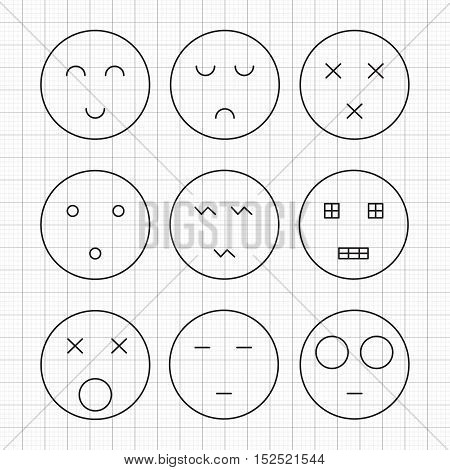 Minimalist set of emoticons. Simple geometric characters of sadness, joy, surprise, anger isolated on grid background