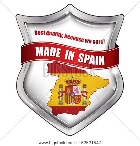 Made in Spain, Best quality because we care -  business commerce shiny icon with the Spanish flag and map on the background. Suitable for retail industry.