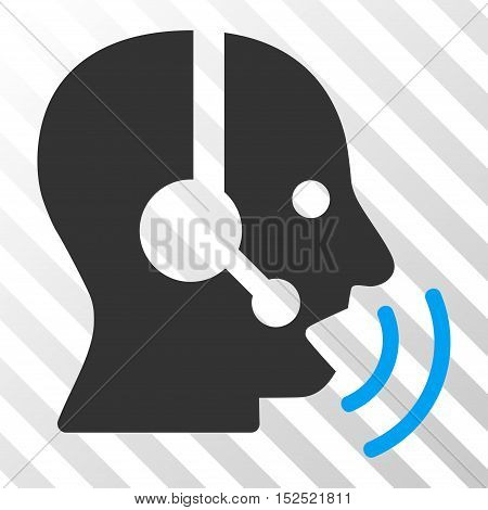 Blue And Gray Operator Speech Sound Waves interface toolbar pictogram. Vector pictogram style is a flat bicolor symbol on diagonal hatch transparent background.