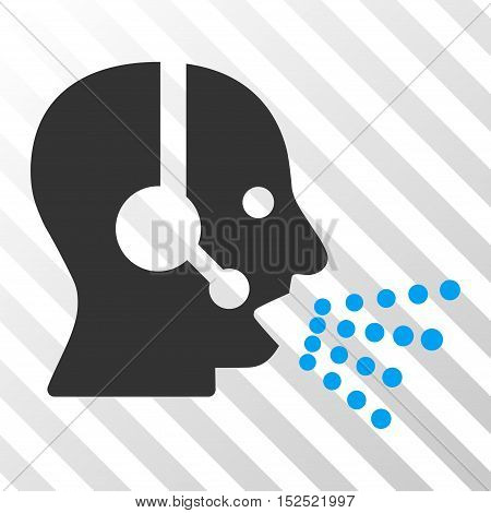 Blue And Gray Operator Speech interface toolbar icon. Vector pictogram style is a flat bicolor symbol on diagonal hatch transparent background.