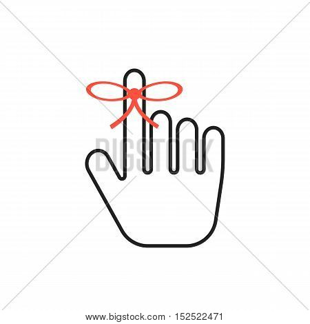 reminder icon with outline black hand. concept of appointment, calendar, event, save the date, memo, total recall, memorize. isolated on white background. flat style modern design vector illustration