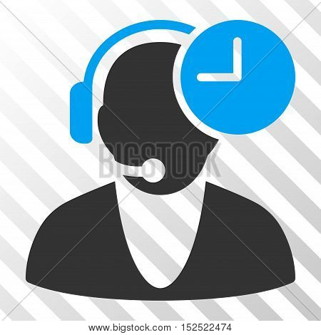 Blue And Gray Operator Time interface icon. Vector pictogram style is a flat bicolor symbol on diagonal hatch transparent background.