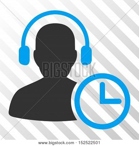 Blue And Gray Operator Time interface pictogram. Vector pictogram style is a flat bicolor symbol on diagonal hatch transparent background.