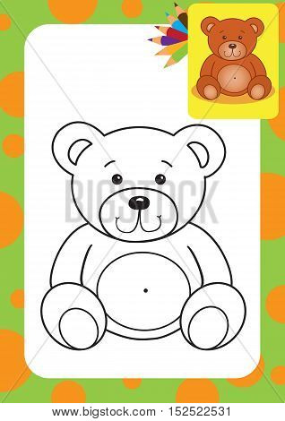 Coloring page. Bear toy vector illustration. Vector illustration