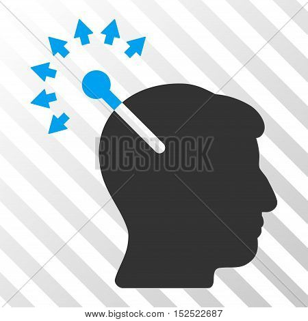 Blue And Gray Optical Neural Interface interface pictogram. Vector pictogram style is a flat bicolor symbol on diagonal hatch transparent background.