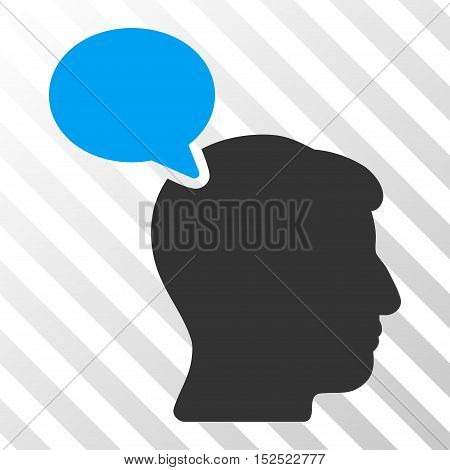 Blue And Gray Person Opinion interface icon. Vector pictogram style is a flat bicolor symbol on diagonal hatch transparent background.