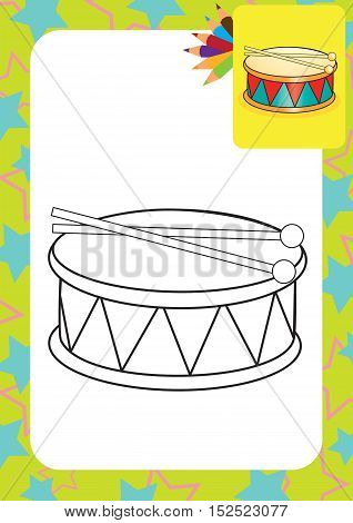 Coloring page. Drum and drumsticks. Vector illustration