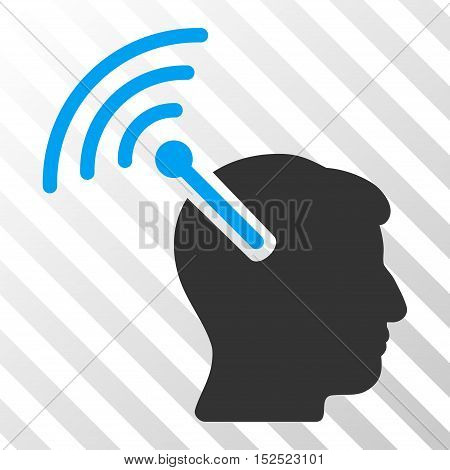 Blue And Gray Radio Neural Interface interface toolbar pictogram. Vector pictogram style is a flat bicolor symbol on diagonal hatch transparent background.