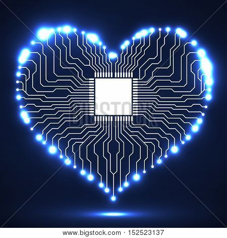 Abstract electronic circuit board in shape of heart, technology background