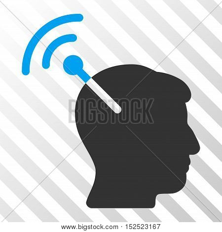 Blue And Gray Radio Neural Interface interface icon. Vector pictogram style is a flat bicolor symbol on diagonal hatch transparent background.