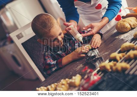 Mother and child decorating the gingerbread cookies