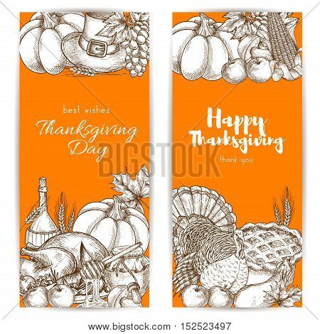 Thanksgiving day greeting banners set with sketched traditional thanksgiving design of table plenty of food, roasted turkey, vegetables harvest, pumpkins, pilgrim hat on orange background
