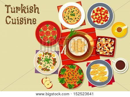 Turkish cuisine festive dinner icon of meatball kofta served with chicken and tripe soups, bean salad, bulgur with vegetables, tomato salad, baklava, cereal and bean dessert ashura and coffee