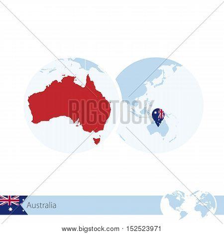 Australia On World Globe With Flag And Regional Map Of Australia.
