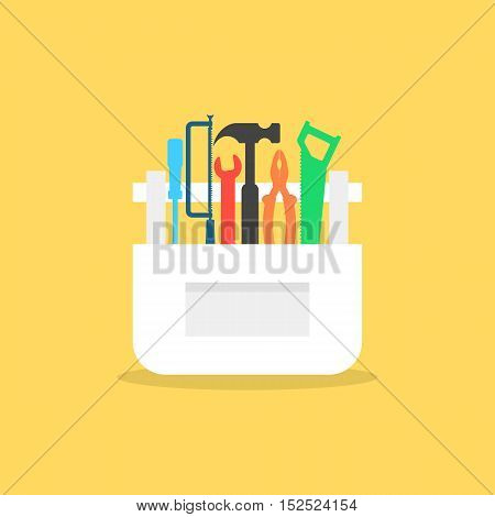 colored tools in white box with shadow. concept of mechanic, building, overhaul, engineer, employment, carpenter, civil engineering work. flat style trendy modern design vector illustration