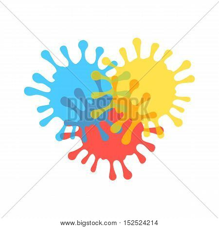 colored and transparent ink stains. concept of paintbrush stamp, splodge silhouette, stamp. flat style trendy modern logotype design vector illustration