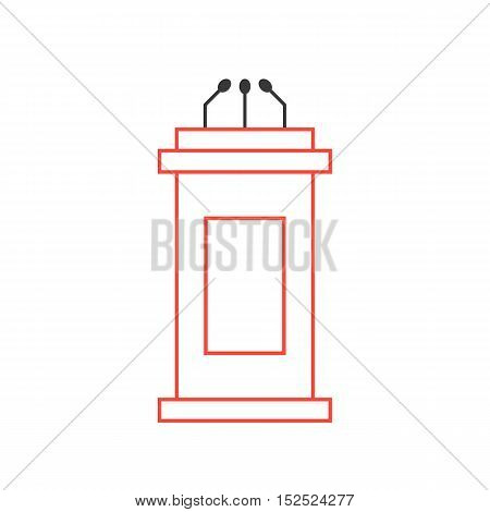 red tribune icon from thin line. concept of political, event, lecturer, interview, broadcaster, narrator, journalism, voting, pulpit. flat style trendy modern logo design vector illustration