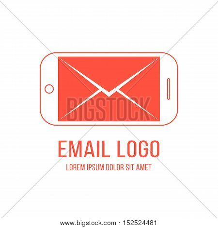 email logotype with inverted red smartphone and letter. concept of networking, cellphone, newsletter, device, notification, delivery, feedback. flat style modern brand design vector illustration