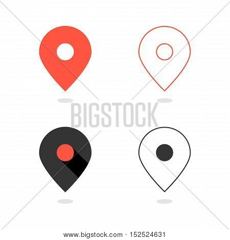 set of simple pin icons with shadow. concept of cartography, navigate, geotagging, mapping, landmark, geography. isolated on white background. flat style modern logo design vector illustration